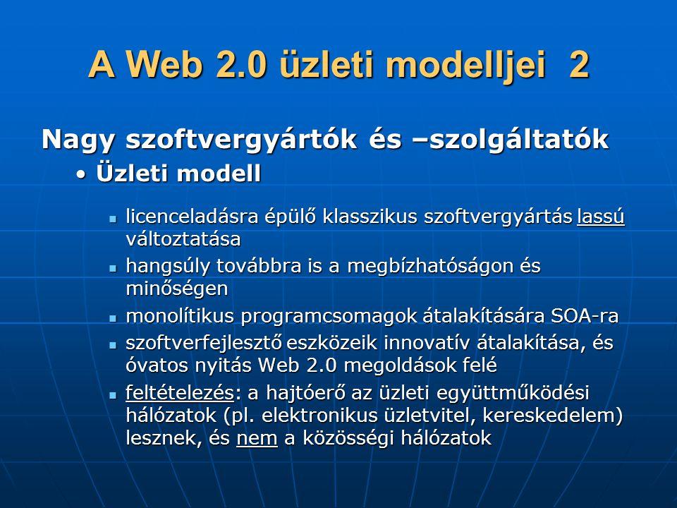 A Web 2.0 üzleti modelljei 2 Nagy szoftvergyártók és –szolgáltatók