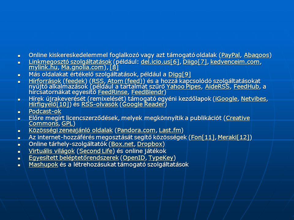 Online kiskereskedelemmel foglalkozó vagy azt támogató oldalak (PayPal, Abaqoos)