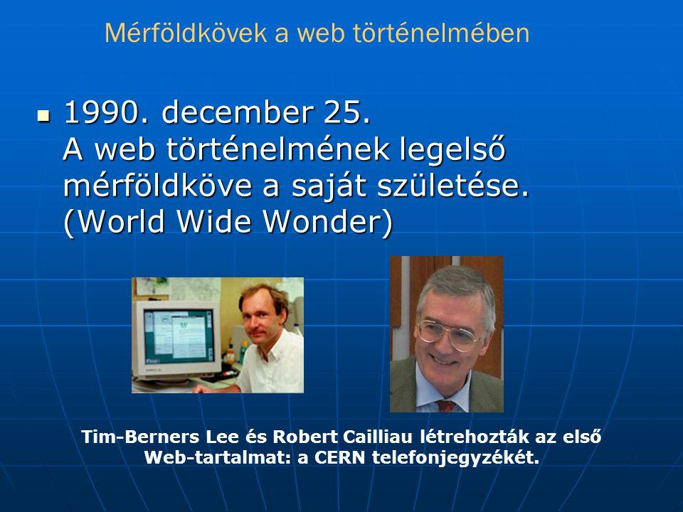 Mérföldkövek a web történelmében