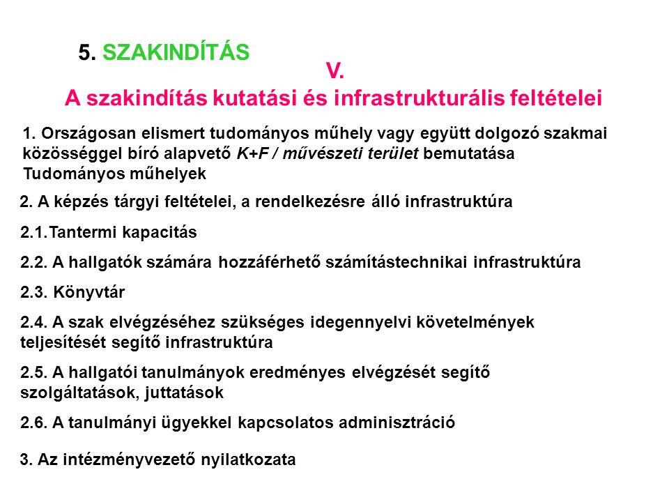 A szakindítás kutatási és infrastrukturális feltételei