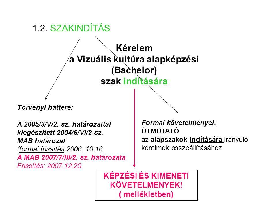 Kérelem a Vizuális kultúra alapképzési (Bachelor) szak indítására