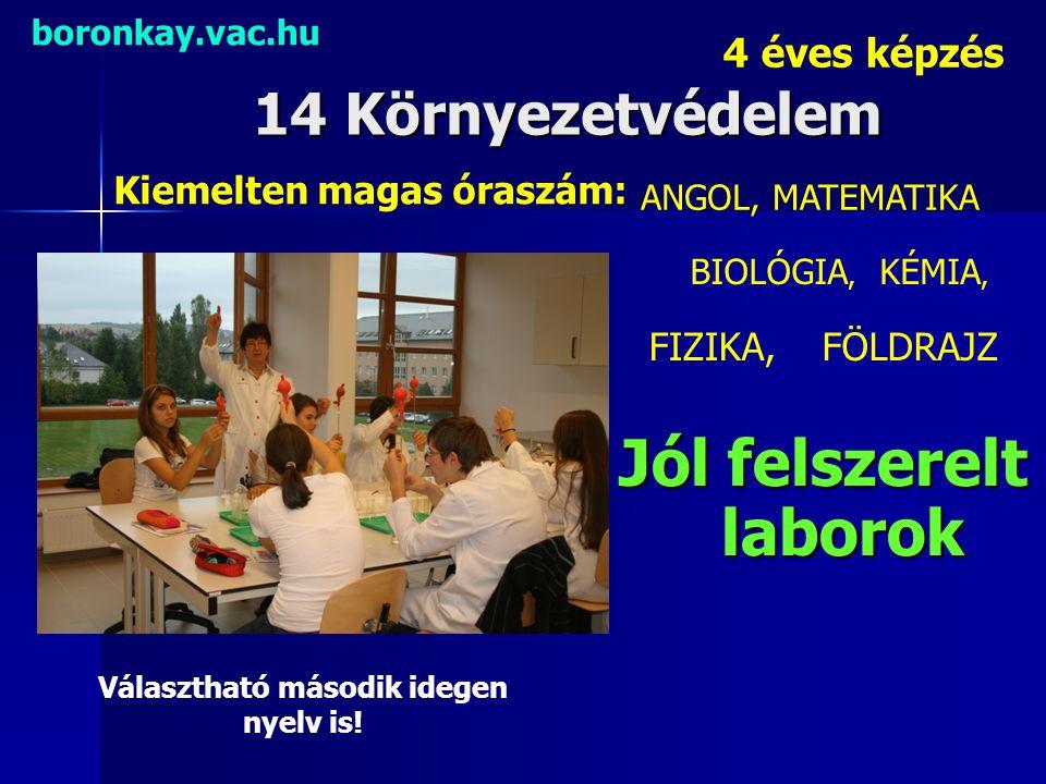Jól felszerelt laborok Választható második idegen nyelv is!