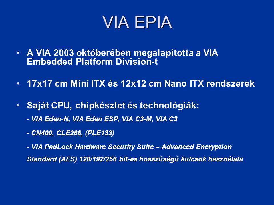 VIA EPIA A VIA 2003 októberében megalapította a VIA Embedded Platform Division-t. 17x17 cm Mini ITX és 12x12 cm Nano ITX rendszerek.