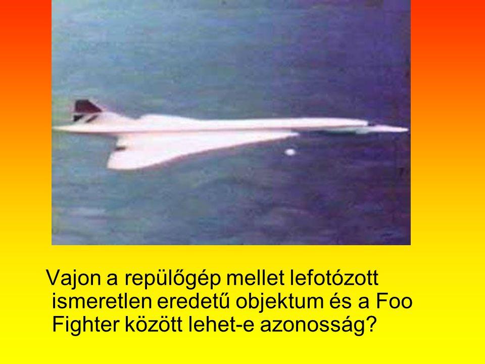 Vajon a repülőgép mellet lefotózott ismeretlen eredetű objektum és a Foo Fighter között lehet-e azonosság