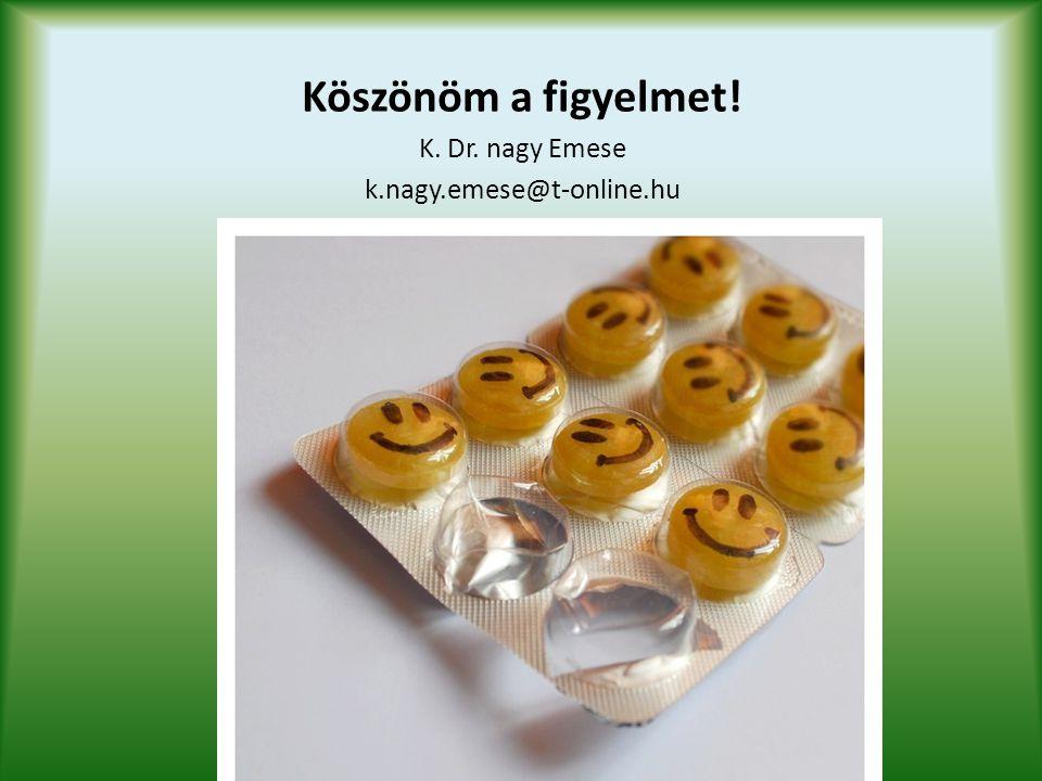 Köszönöm a figyelmet! K. Dr. nagy Emese k.nagy.emese@t-online.hu