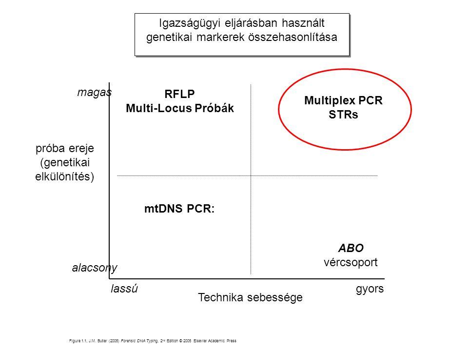 RFLP Multi-Locus Próbák ABO Multiplex PCR STRs mtDNS PCR: