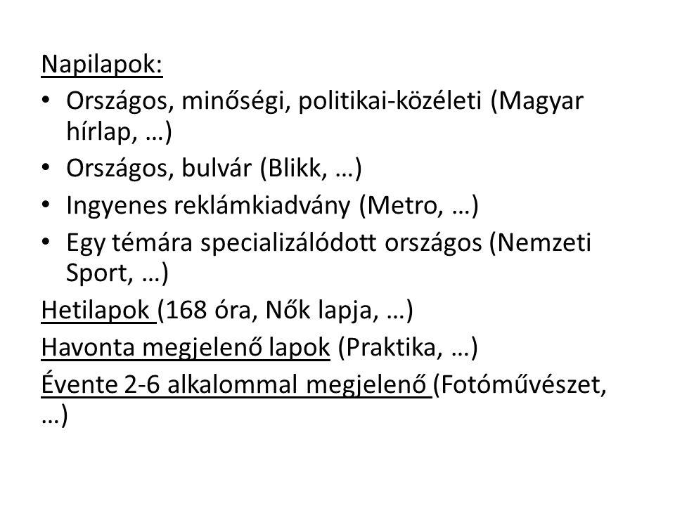 Napilapok: Országos, minőségi, politikai-közéleti (Magyar hírlap, …) Országos, bulvár (Blikk, …) Ingyenes reklámkiadvány (Metro, …)