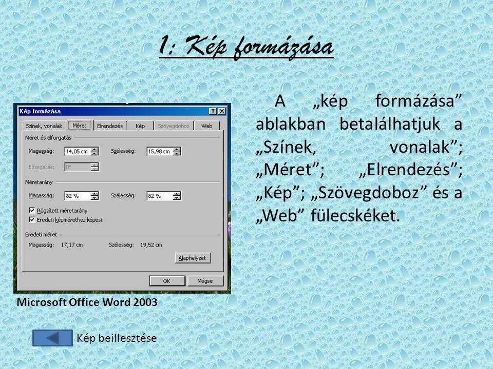 """1; Kép formázása A """"kép formázása ablakban betalálhatjuk a """"Színek, vonalak ; """"Méret ; """"Elrendezés ; """"Kép ; """"Szövegdoboz és a """"Web fülecskéket."""