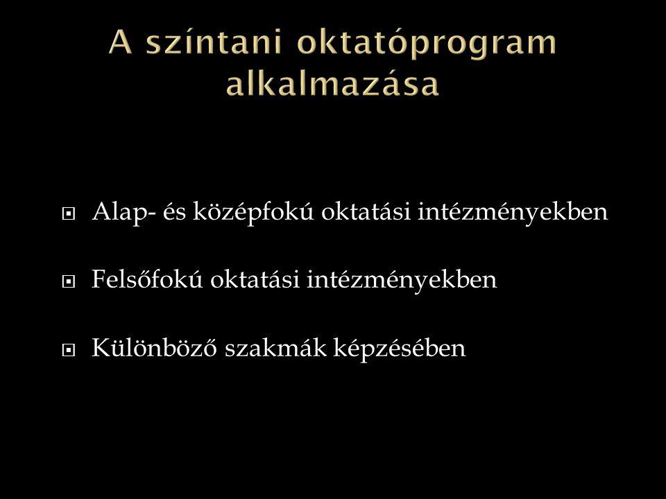 A színtani oktatóprogram alkalmazása