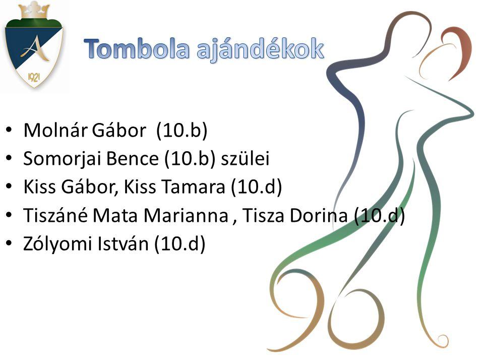 Tombola ajándékok Molnár Gábor (10.b) Somorjai Bence (10.b) szülei