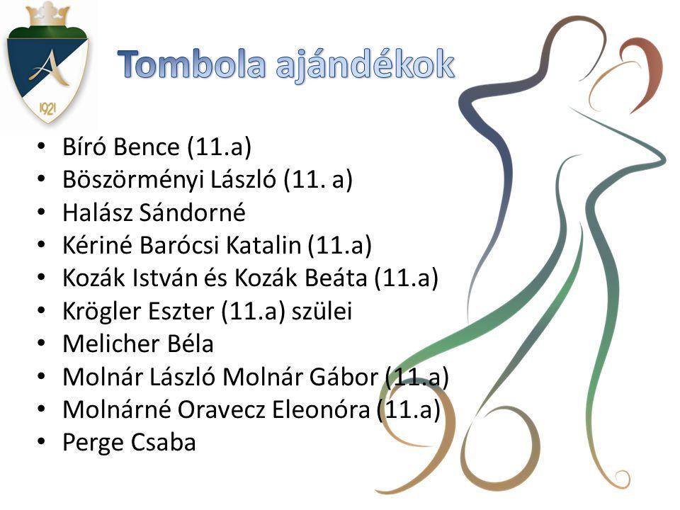 Tombola ajándékok Bíró Bence (11.a) Böszörményi László (11. a)