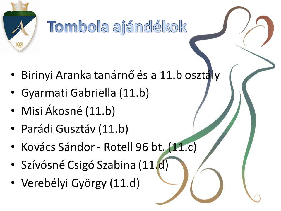 Tombola ajándékok Birinyi Aranka tanárnő és a 11.b osztály
