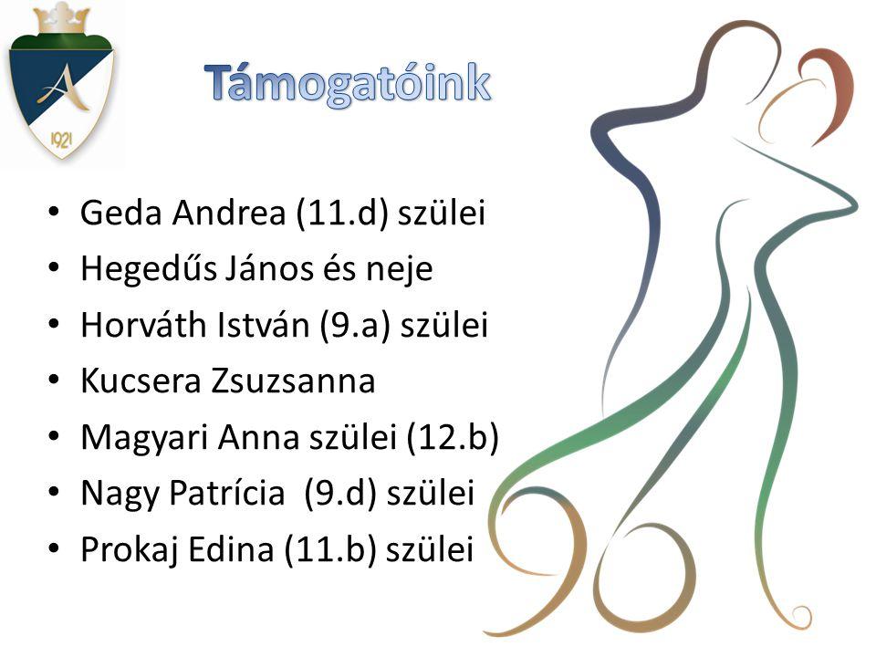 Támogatóink Geda Andrea (11.d) szülei Hegedűs János és neje