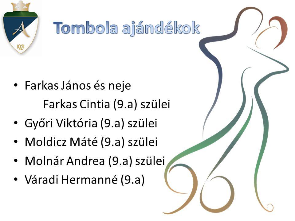 Tombola ajándékok Farkas János és neje Farkas Cintia (9.a) szülei