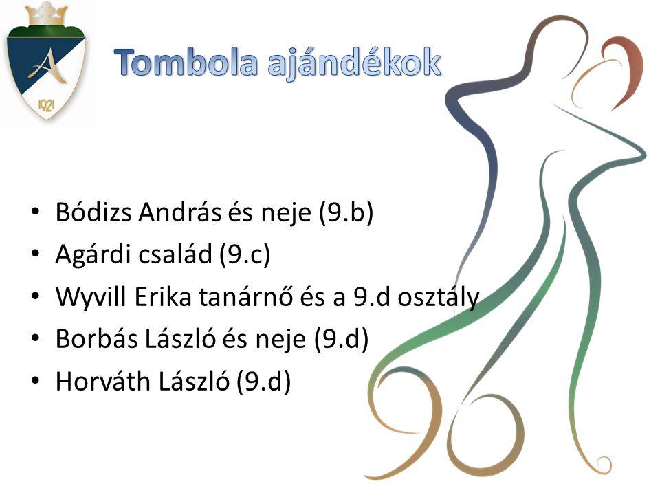 Tombola ajándékok Bódizs András és neje (9.b) Agárdi család (9.c)