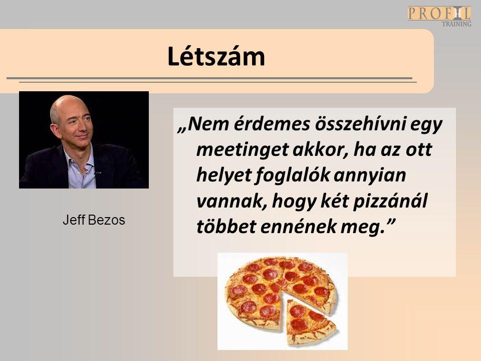 """Létszám """"Nem érdemes összehívni egy meetinget akkor, ha az ott helyet foglalók annyian vannak, hogy két pizzánál többet ennének meg."""