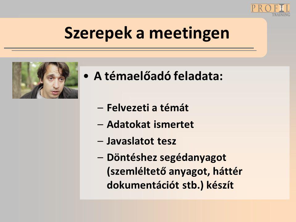 Szerepek a meetingen A témaelőadó feladata: Felvezeti a témát