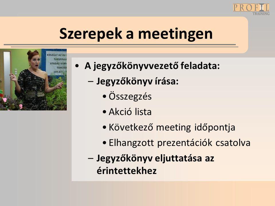 Szerepek a meetingen A jegyzőkönyvvezető feladata: Jegyzőkönyv írása: