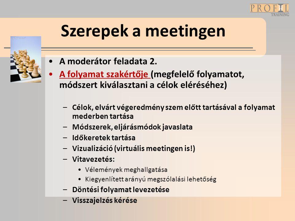 Szerepek a meetingen A moderátor feladata 2.