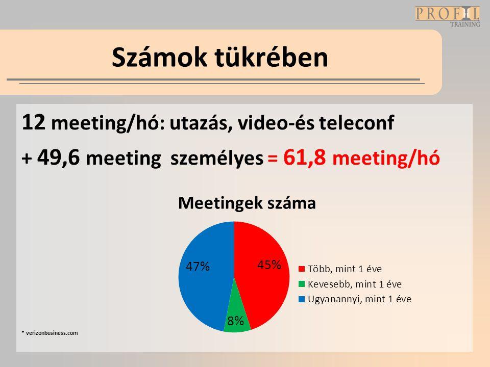 Számok tükrében 12 meeting/hó: utazás, video-és teleconf