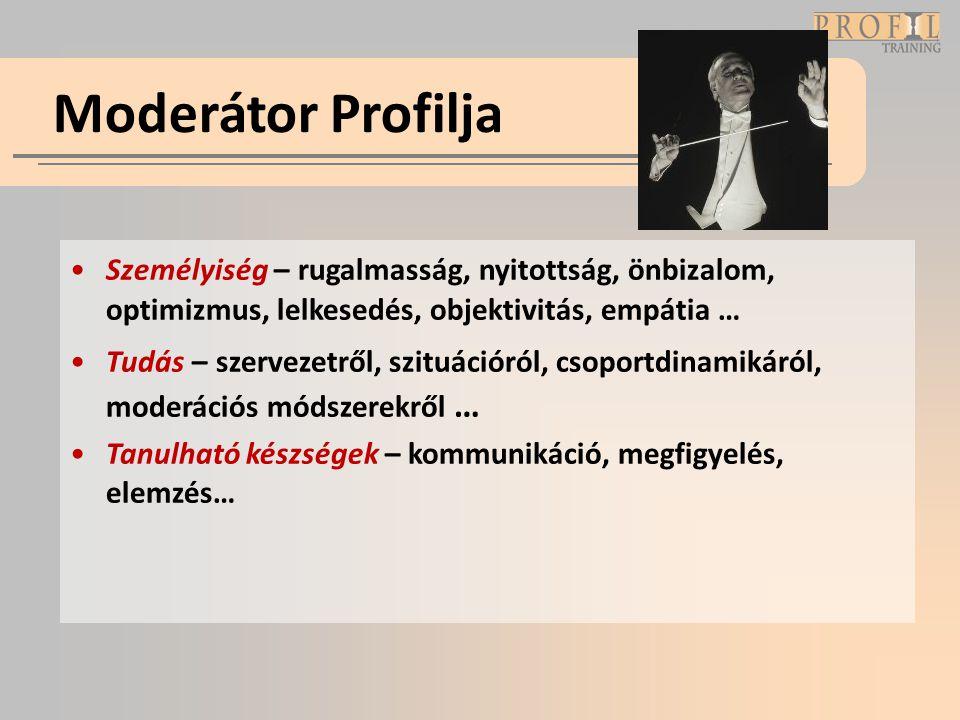 Moderátor Profilja Személyiség – rugalmasság, nyitottság, önbizalom, optimizmus, lelkesedés, objektivitás, empátia …