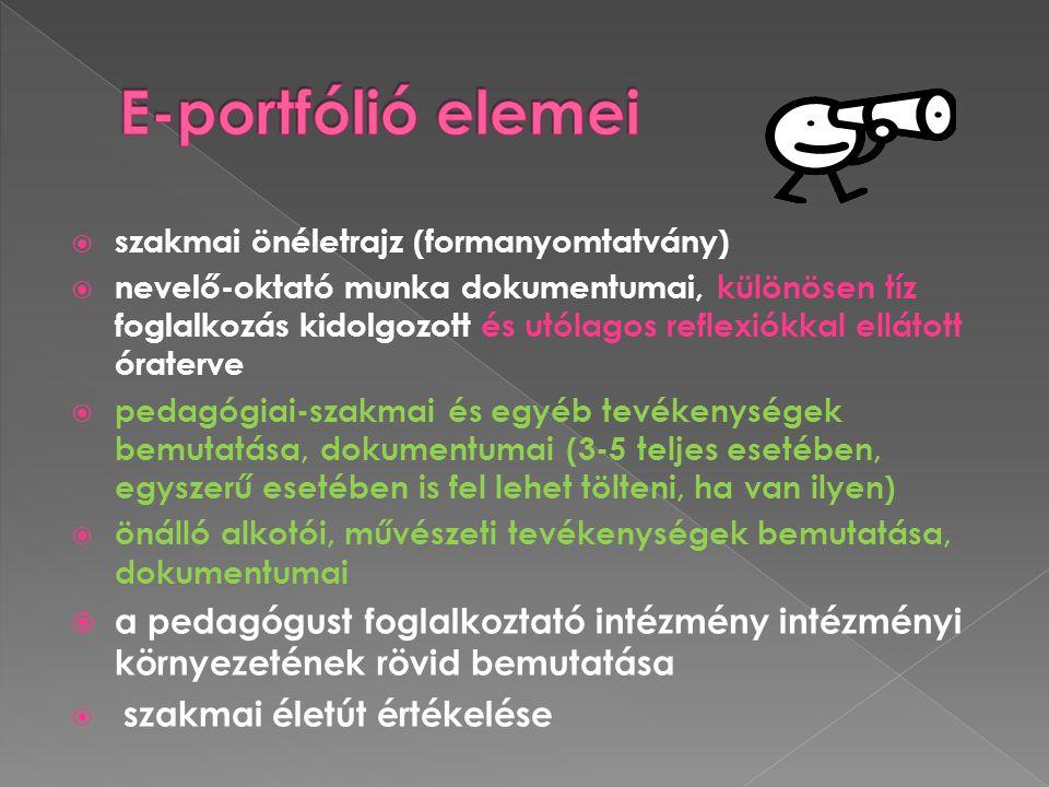 E-portfólió elemei szakmai önéletrajz (formanyomtatvány)