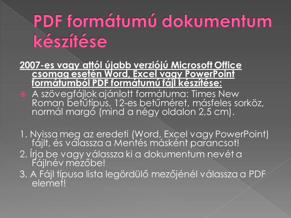 PDF formátumú dokumentum készítése