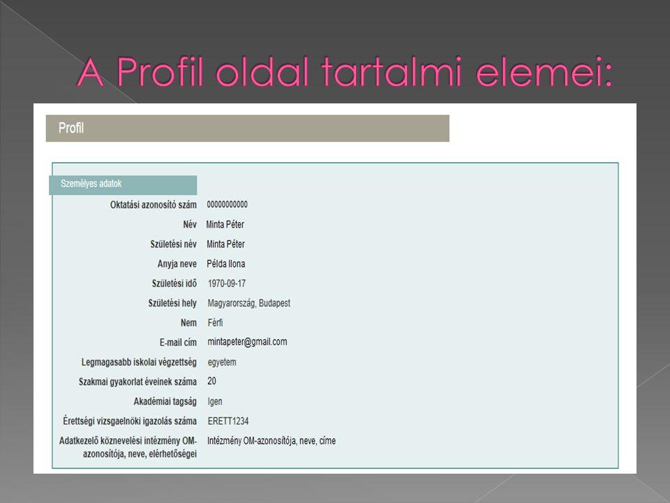 A Profil oldal tartalmi elemei: