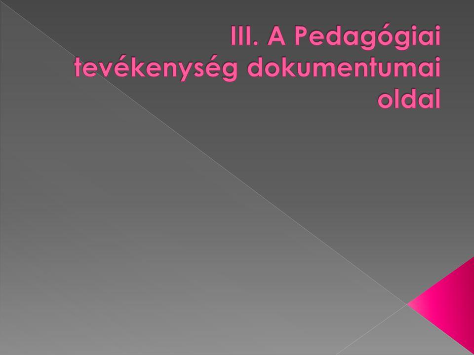III. A Pedagógiai tevékenység dokumentumai oldal