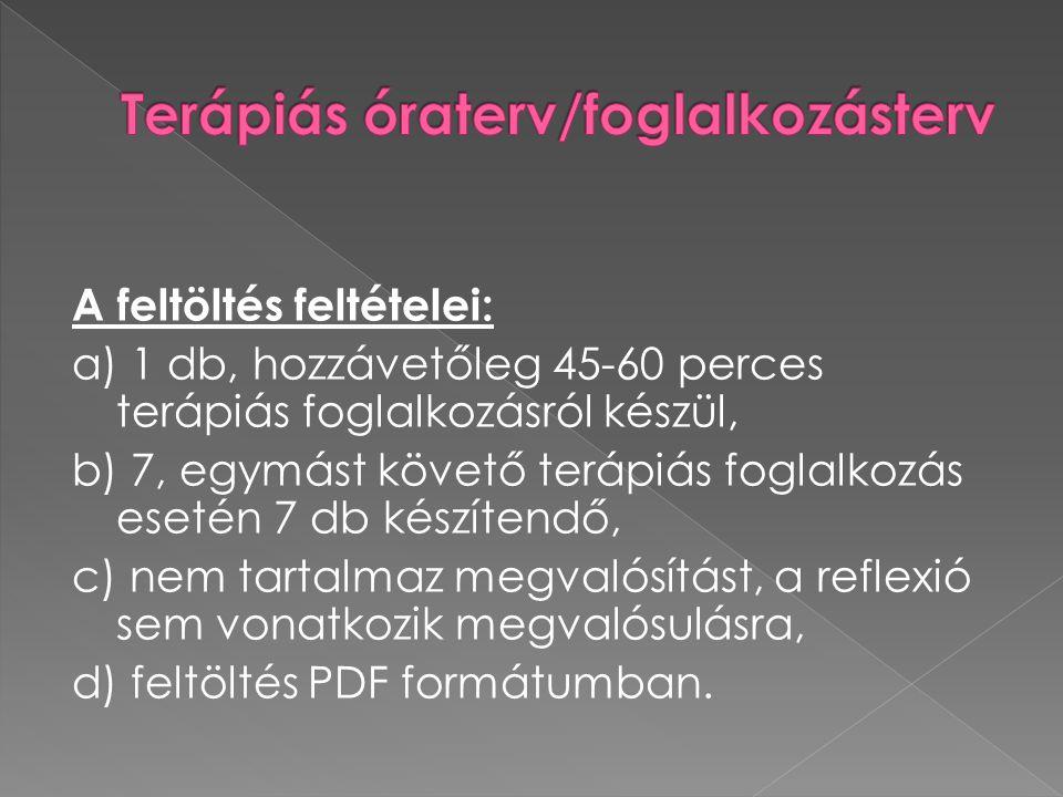 Terápiás óraterv/foglalkozásterv