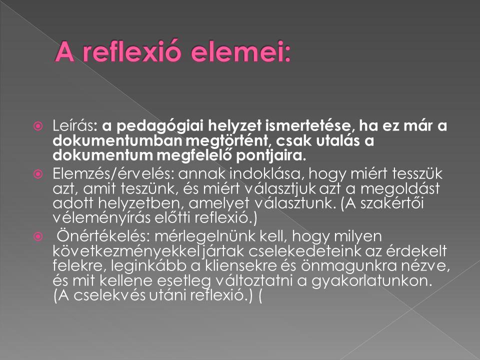 A reflexió elemei: Leírás: a pedagógiai helyzet ismertetése, ha ez már a dokumentumban megtörtént, csak utalás a dokumentum megfelelő pontjaira.