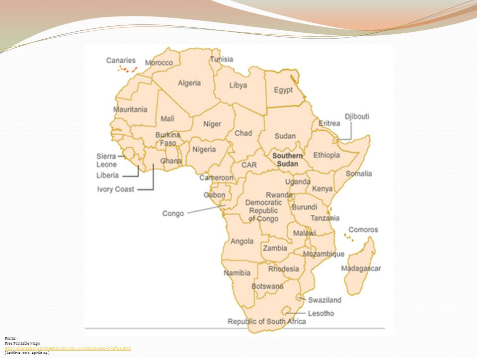 Forrás: Free Printable Maps. http://printable-maps.blogspot.com/2011/12/political-map-of-africa.html.