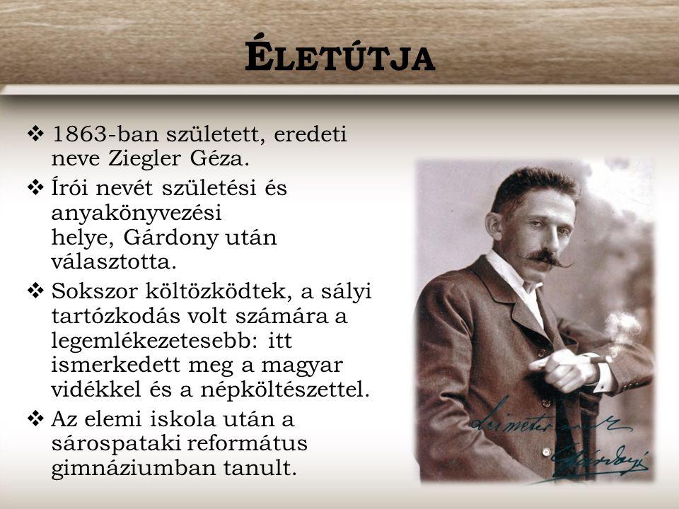 Életútja 1863-ban született, eredeti neve Ziegler Géza.