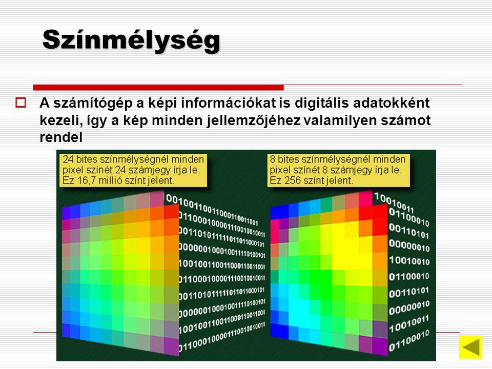 Színmélység A számítógép a képi információkat is digitális adatokként kezeli, így a kép minden jellemzőjéhez valamilyen számot rendel.