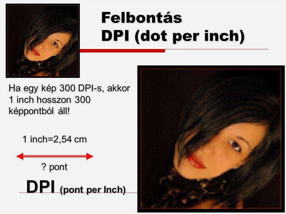 DPI (pont per Inch) Felbontás DPI (dot per inch)