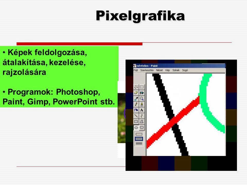 Pixelgrafika Képek feldolgozása, átalakítása, kezelése, rajzolására