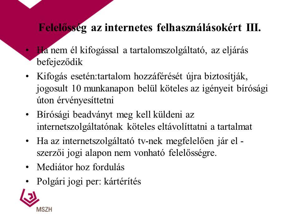 Felelősség az internetes felhasználásokért III.
