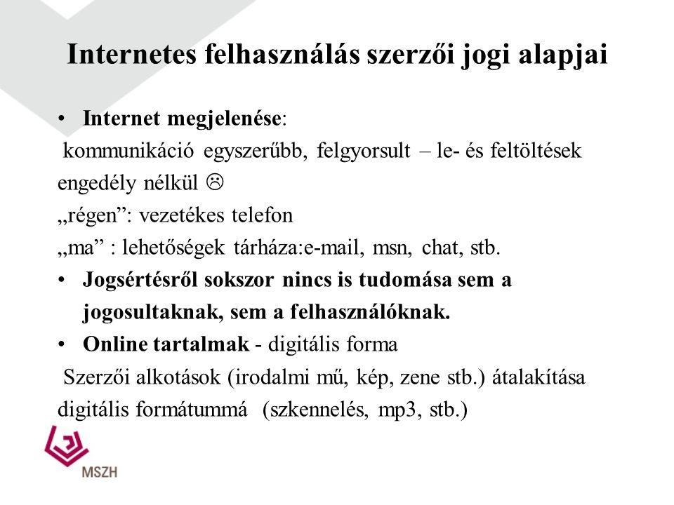 Internetes felhasználás szerzői jogi alapjai