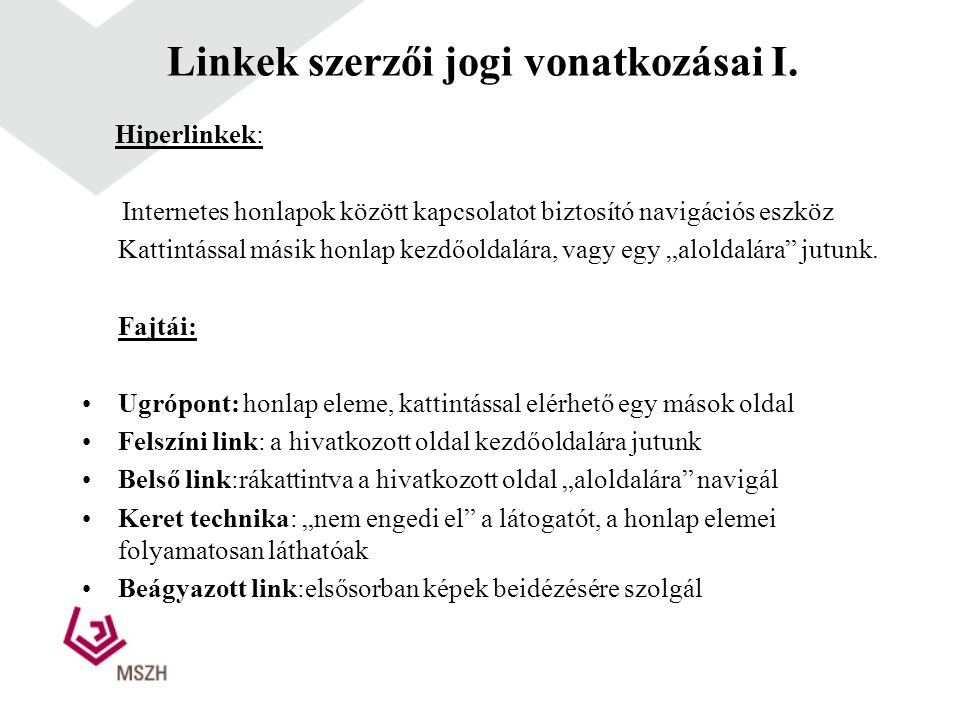 Linkek szerzői jogi vonatkozásai I.