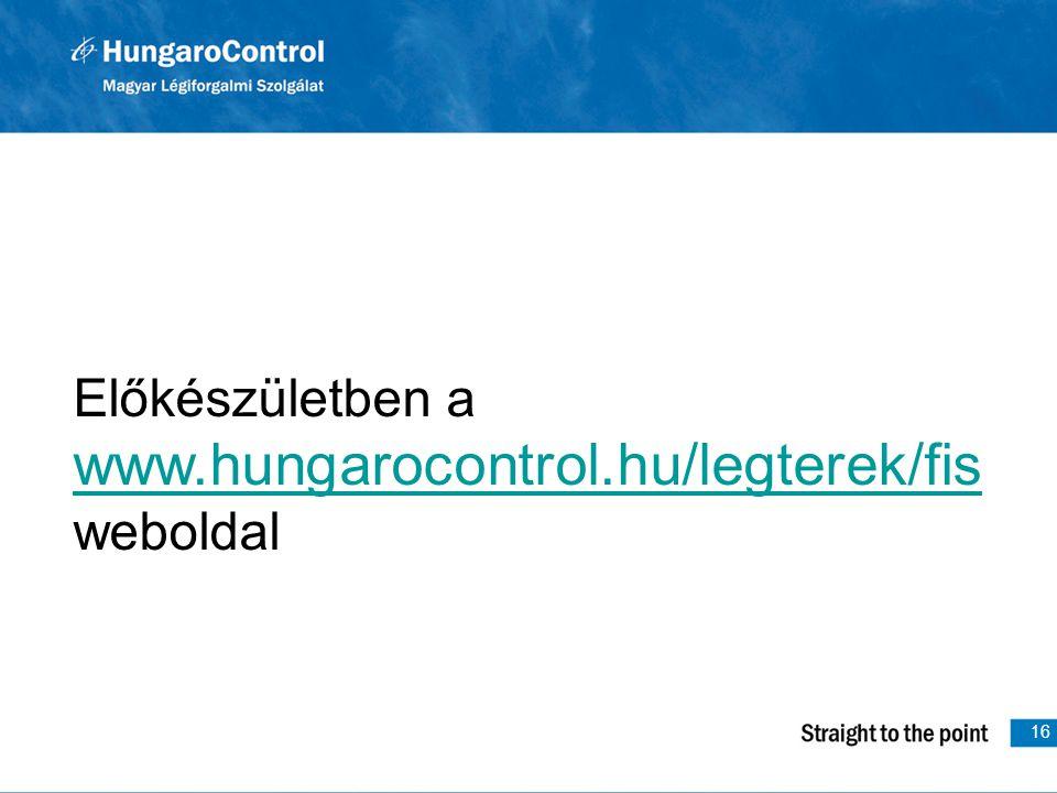 Előkészületben a www.hungarocontrol.hu/legterek/fis