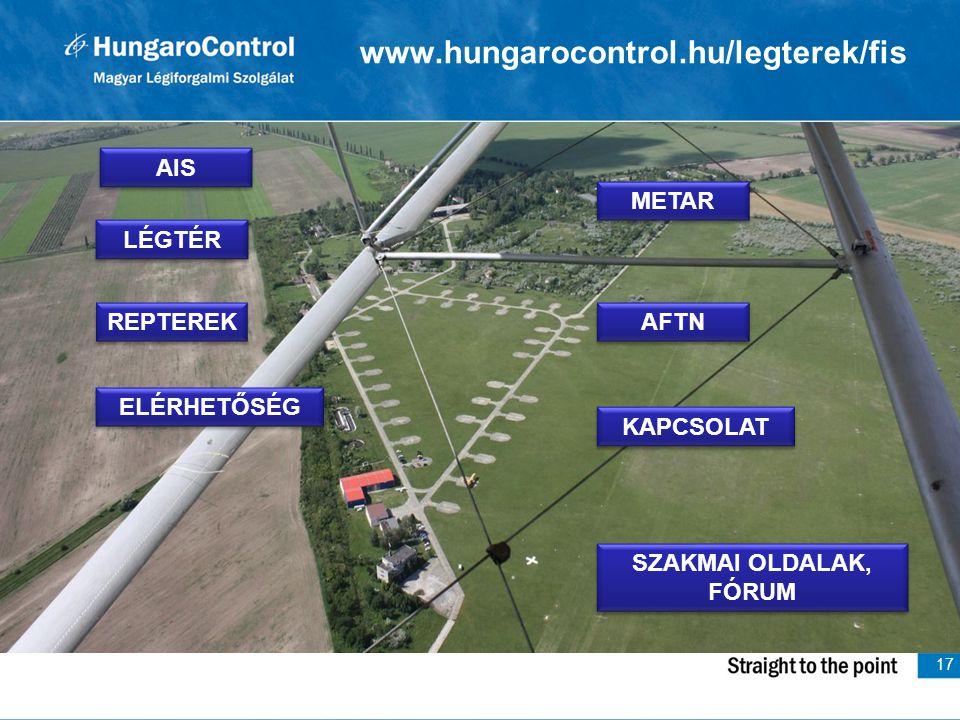 www.hungarocontrol.hu/legterek/fis AIS METAR LÉGTÉR REPTEREK AFTN