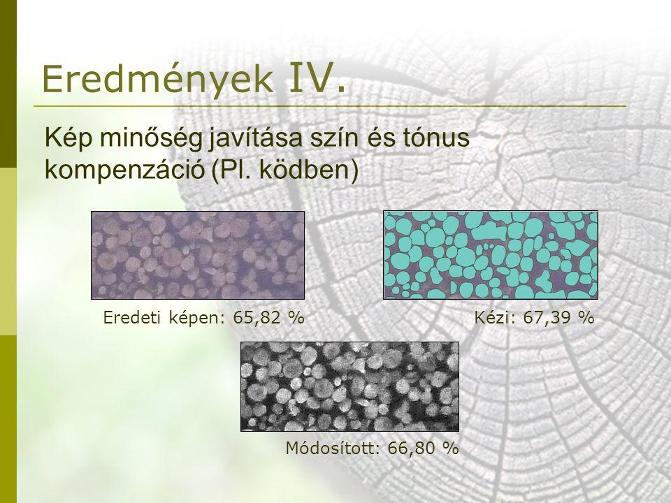 Eredmények IV. Kép minőség javítása szín és tónus kompenzáció (Pl. ködben) Eredeti képen: 65,82 % Kézi: 67,39 %