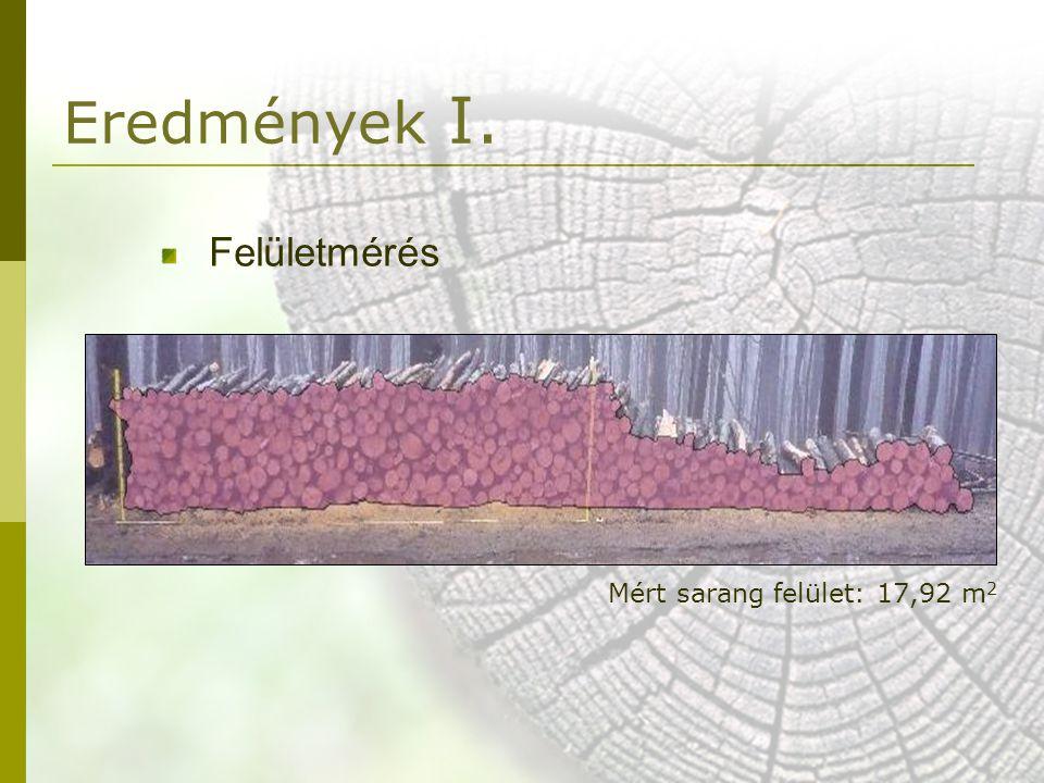 Eredmények I. Felületmérés Mért sarang felület: 17,92 m2