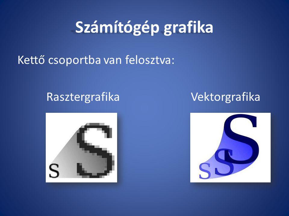 Számítógép grafika Kettő csoportba van felosztva:
