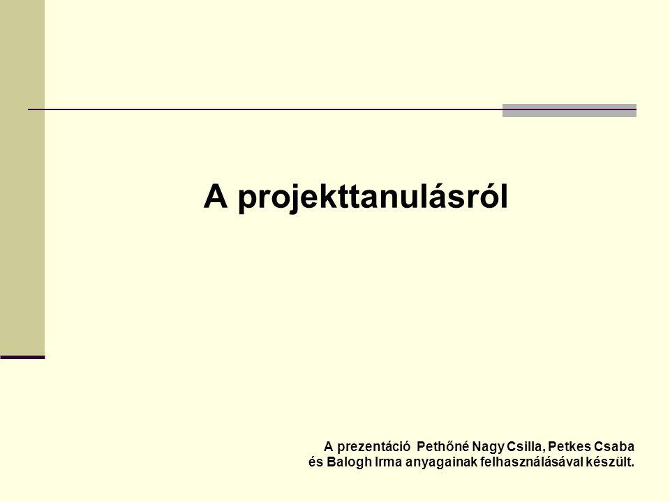 A projekttanulásról A prezentáció Pethőné Nagy Csilla, Petkes Csaba