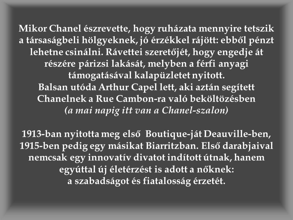 Mikor Chanel észrevette, hogy ruházata mennyire tetszik a társaságbeli hölgyeknek, jó érzékkel rájött: ebből pénzt lehetne csinálni.