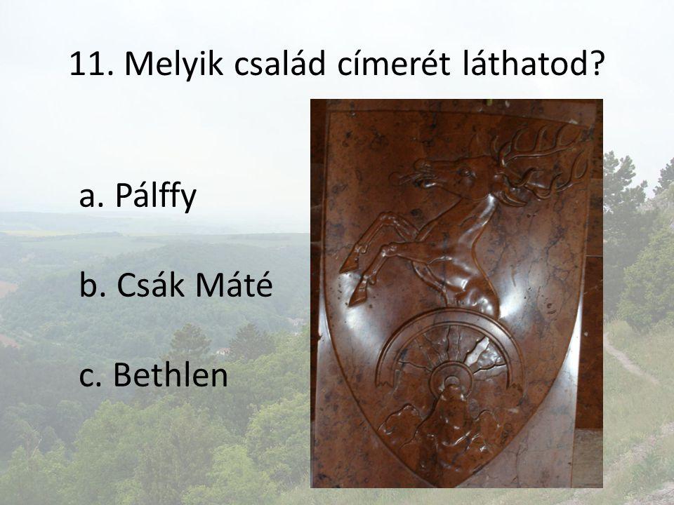 11. Melyik család címerét láthatod