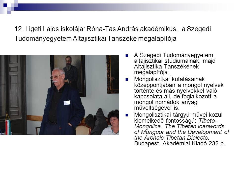 12. Ligeti Lajos iskolája: Róna-Tas András akadémikus, a Szegedi Tudományegyetem Altajisztikai Tanszéke megalapítója
