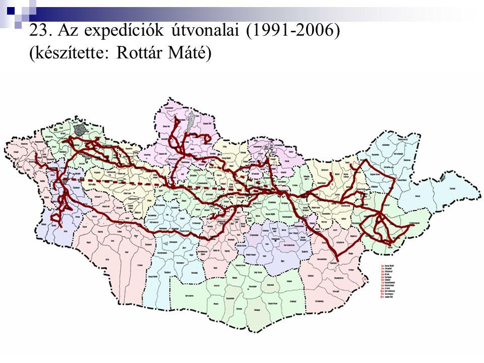 23. Az expedíciók útvonalai (1991-2006) (készítette: Rottár Máté)