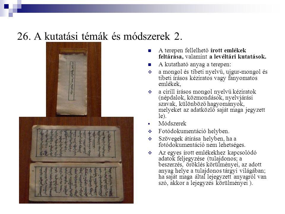26. A kutatási témák és módszerek 2.